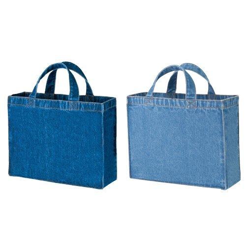 デニムカレッジ トートバッグ A4サイズ マチあり スクエアタイプ レディース メンズ 手提げ 鞄 エコバッグ レッスンバッグ (ウォッシュブルー)