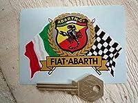 Abarth & Co. Fiat Flag & Scroll Sticker アバルト ステッカー シール デカール クリア 95mm × 65mm [並行輸入品]