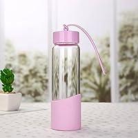 ガラスカップ、環境保護カップ、カップ、オフィスカップ、かわいいカップ350ml (Capacity : 350ml, Color : ピンク)