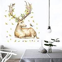 Wuyyii 美しいワピティの壁のステッカーエルクの壁画アートホームインテリア最新のクリスマスDiyビニールの壁のアートデカールの装飾動物のバードステッカー