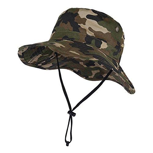 VBIGER ブーニーハット 釣り 帽子 サファリハット メンズ レディース 登山 アウトドア フィッシング 迷彩 ジャングル(迷彩+グリーン)