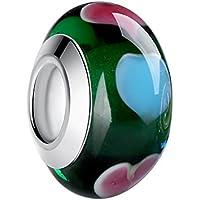 WOSTU グリーンガラスビーズ カラフルフラワー シンプル アクセサリーパーツ ブレスレット、ネックレス用 シルバー