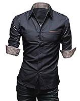 [50dB] メンズ カジュアル シャツ 7分袖/長袖 3色展開(ブラック/ブルー/ネイビー) (XXL, 7分袖 ブラック)
