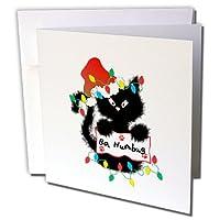 Charlyn Woodruff–CW Designs Holidays–クリスマス–キュートFuzzyブラックCat Ba Humbugクリスマスサンタ–グリーティングカード Set of 12 Greeting Cards