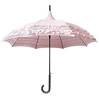 (トライバル)TRIBAL しっかり日差しを遮る大きめサイズ 優雅なパゴダタイプ たっぷり3重フリルエレガントパゴダ日傘 ピンク