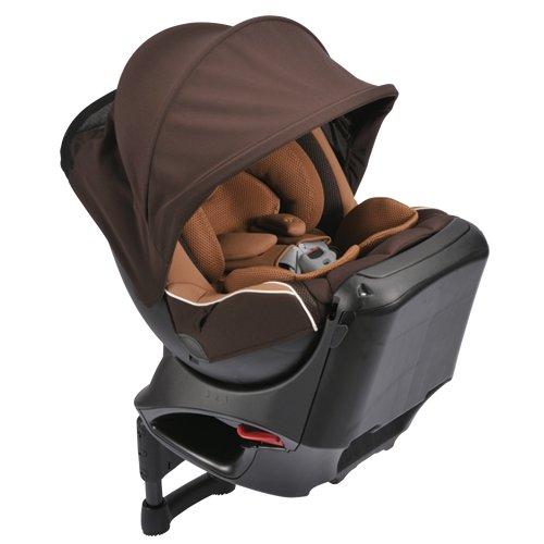 カーメイト エールベベ クルットNT2プラウド 新生児から4歳用チャイルドシート(サンシェード付360度回転型) シナモンブラウン