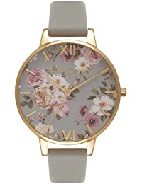 Olivia Burton オリビアバートン FLOWER SHOW BIG DIAL グレー & ゴールド 38mm 女性 レディース 腕時計 OB16FS81 [並行輸入品]