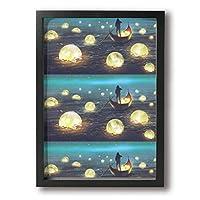 海に浮かぶ多くの輝く月 ボートを漕ぐ男 夜の風景 アートフレーム 壁掛け インテリア絵画 部屋 装飾 額縁 フレーム付き 釘付き アート ポスター ウォールアート A4 (33X24cm )