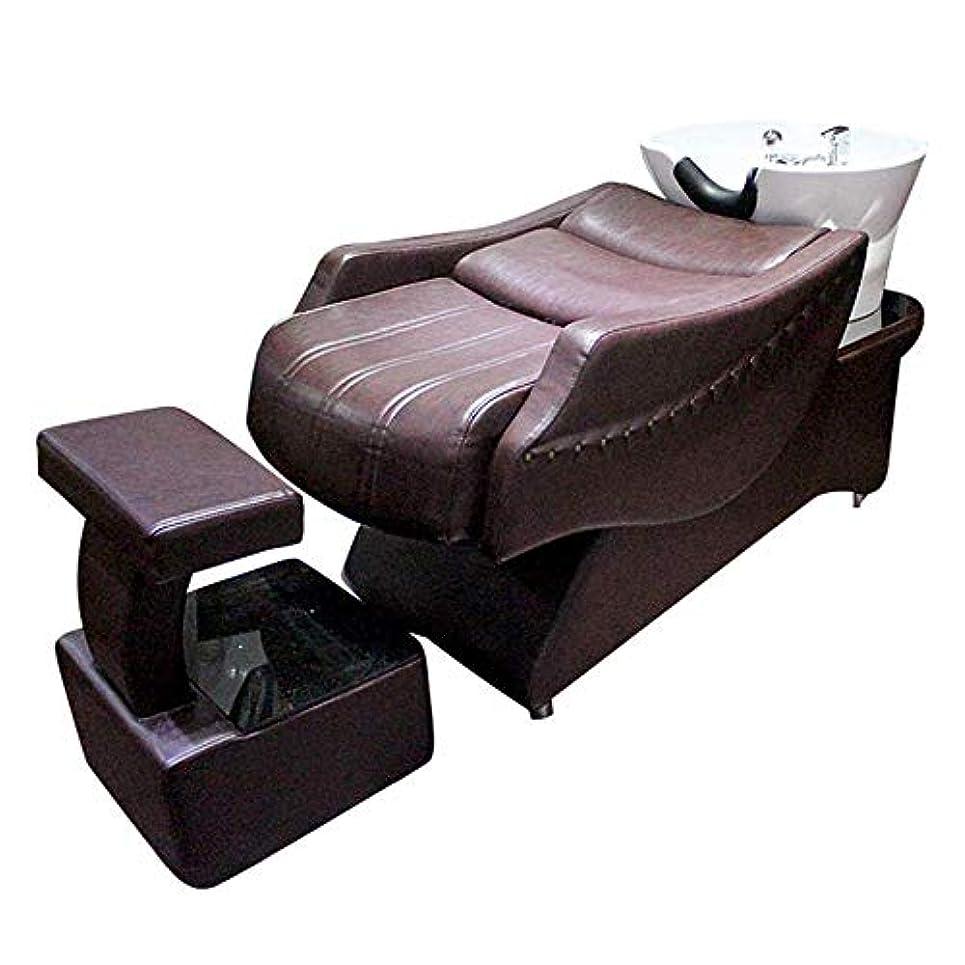 ドラムギャラントリーどれシャンプーチェア、 高級な半横たわるシャンプーベッド逆洗ユニットシャンプーボウル理髪シンク椅子用スパビューティーサロン機器