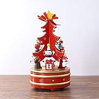 Gizhome クリスマスツリー オルゴール 回転式オルゴール DIY 時計仕掛けオルゴール クリスマスパターン 子供用 レッド
