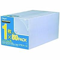 Digio2 CD/DVD/Blu-ray プラケース スリムタイプ 1枚収納×50パック CD-084-50