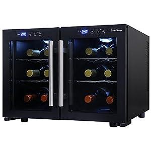 エスキュービズム デュアルワインクーラー ワインボトル12本収納 庫内灯つき 左右個別に温度調節可能 SCW-212B