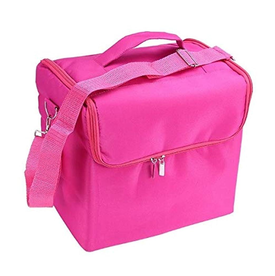 オーバーヘッド同行ケーブル化粧品ケース、ローズレッド多層化粧品バッグ、ポータブル旅行多機能化粧品ケース、美容ネイルジュエリー収納ボックス