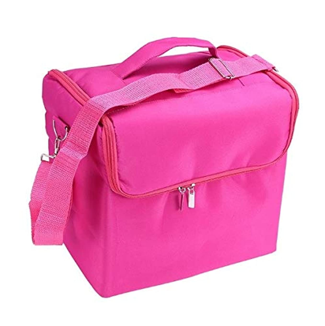 魅了する無限アクセスできない化粧品ケース、ローズレッド多層化粧品バッグ、ポータブル旅行多機能化粧品ケース、美容ネイルジュエリー収納ボックス