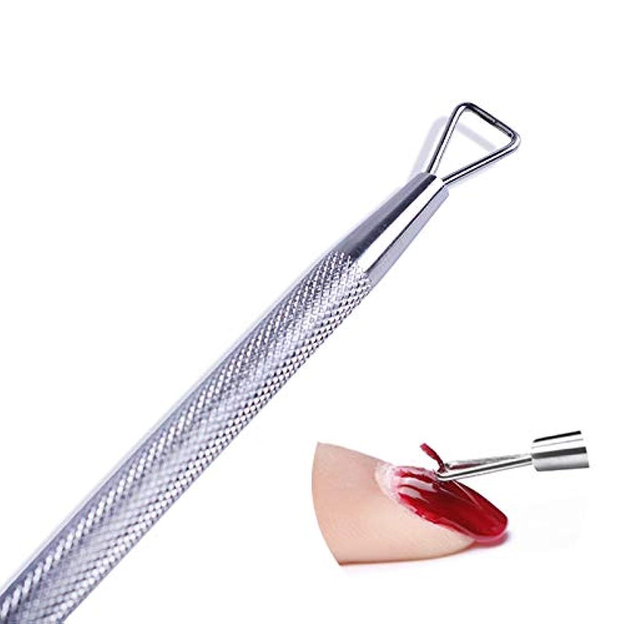 ありそうケント想像する1ピースステンレス鋼ジェルネイルポリッシュリムーバーツール除去スティックペン研削プッシャーマニキュア用uvジェルポリッシュキューティクルSA508