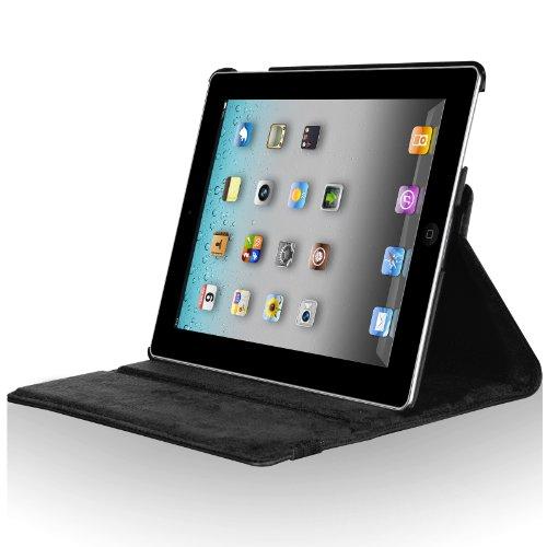 iPad2 iPad3 iPad4 360度回転式 スタンド仕様 レザー ケース 液晶保護フィルム付き ブラック
