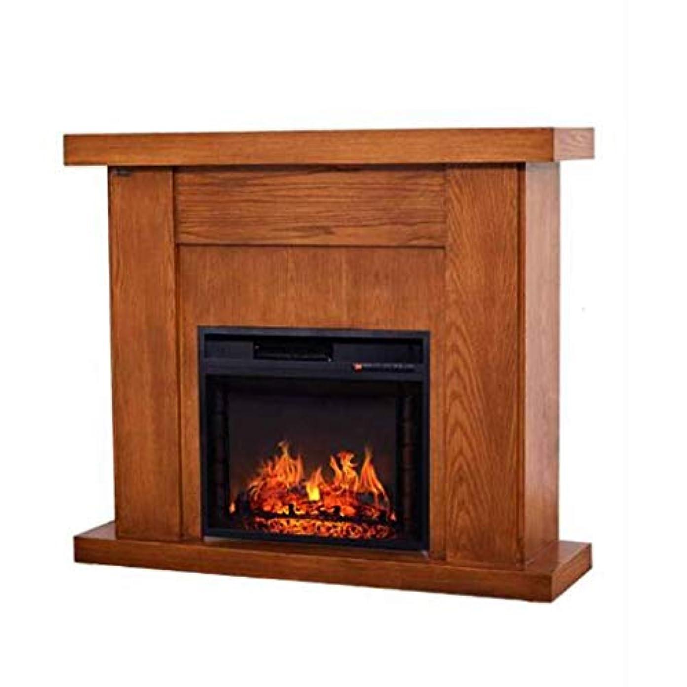 能力虎増幅電気暖炉Liu、ライトソリッドウッドレトロ暖炉装飾キャビネットアナログフレームヒーター家庭用、防湿、変形しにくい(色:A)