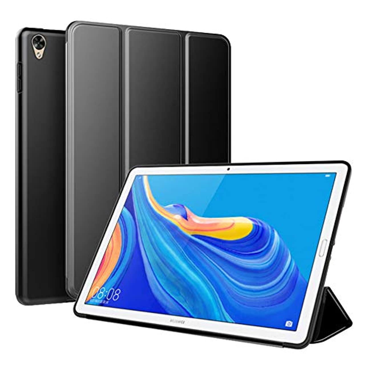 耳カートリッジ潮【M&Y】Huawei MediaPad M6 10.8 ケース Huawei MediaPad M6 10.8 手帳型ケース メディアパッド M6 10.8 ケース 3つ折り スタンド機能 10.8インチ Huawei MediaPad M6 10.8 カバー「全6色」MY-M610-GJ-90715 (ブラック)