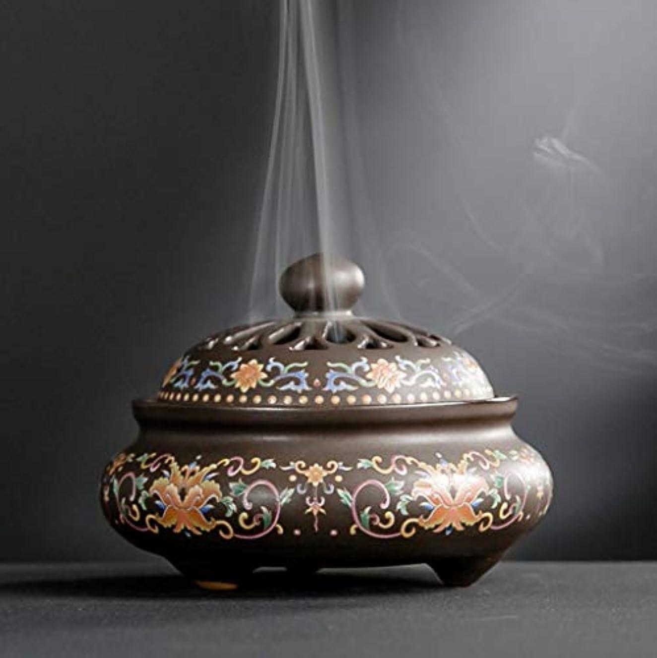 ホールインゲン欠伸YONIK 香炉 渦巻き線香ホルダー 蚊取り線香ホルダー 線香入れ 磁器 香皿 蓋付き 香立て付き 和風
