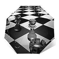 チェス板ガラスの黒と白の表面図柄 自動開閉折り畳み傘 可愛い 軽量 レディース傘 晴雨兼用 高密度PG布 耐風撥水 UVカット 加工済み 超軽量 携帯しやすい 紫外線遮蔽率99% 完全遮光 雨傘 日傘 収納ポーチ付きミニ