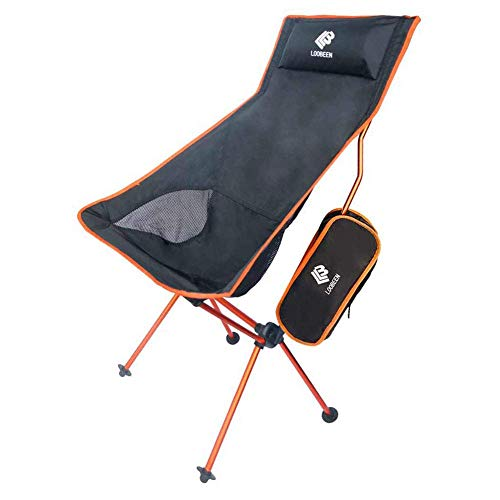 アウトドアチェア 超軽量 折りたたみ椅子 コンパクトチェア 登山 釣り キャンプ ポールチェア 航空アルミ合金 耐荷重120kg (オーレンジ)