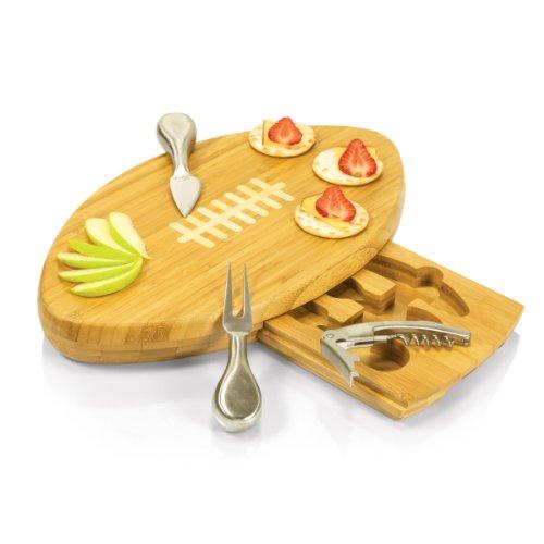 ラブビーボール型チーズボード・お洒落なまな板/木製カッティングボード+チーズナイフセット付属