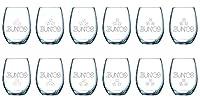 Buncoワインガラス–12のセットStemless–425