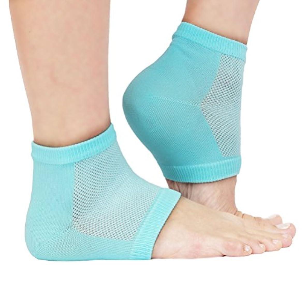 疼痛昼間選ぶROSENICE かかとソックス 保湿かかと靴下(ライト グリーン)