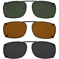 "Eyekepper Grey/Brown/G15 Lens 3-pack Clip-on Polarized Sunglasses 2 1/8""x1 7/16"""
