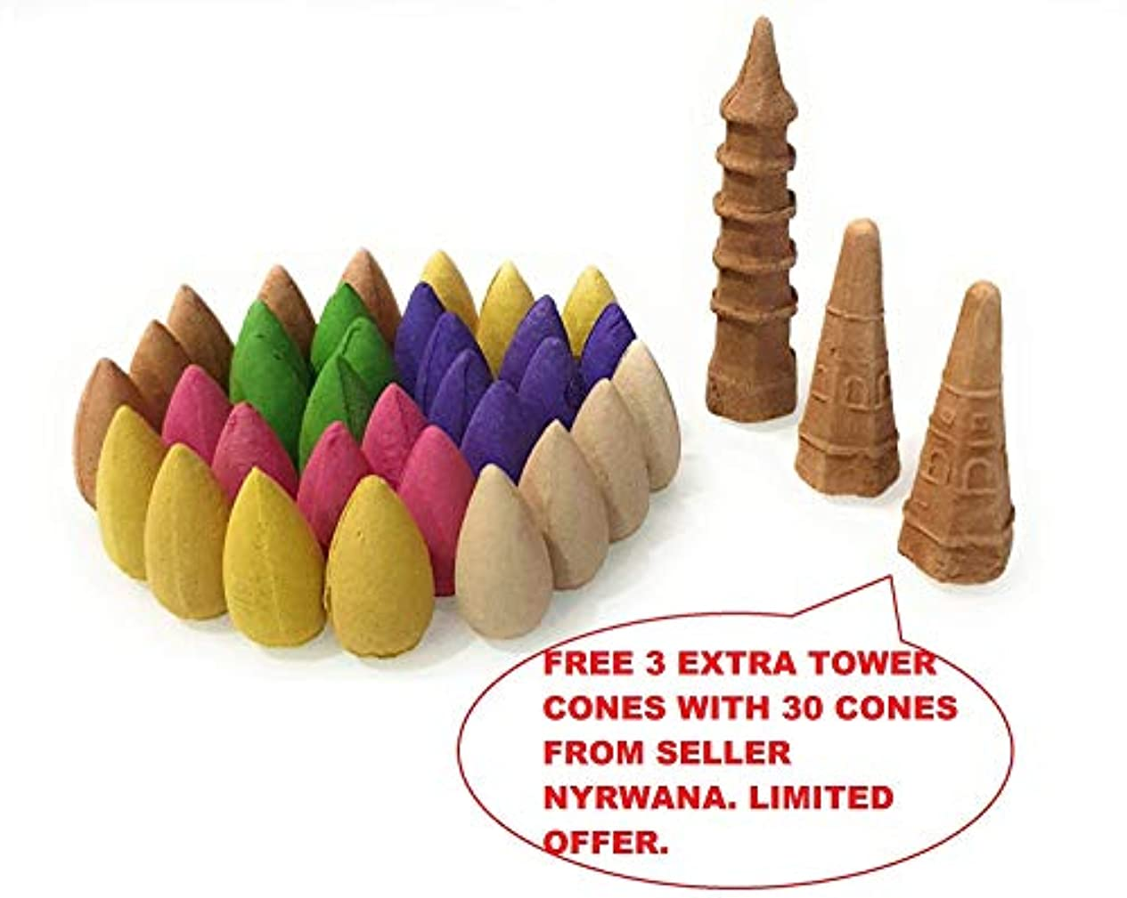 ゴールド四分円付与Nyrwana Backflow Incense Cones