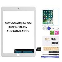 iPad Pro 9.7用交換画面 -SRJTEK タッチスクリーン交換用 タッチデジタイザー ガラス修理部品 組み立てキット iPad Pro 9.7 2016 A1673 A1674 A1675用 強化ガラス付き 9.7 '' ホワイト A1673