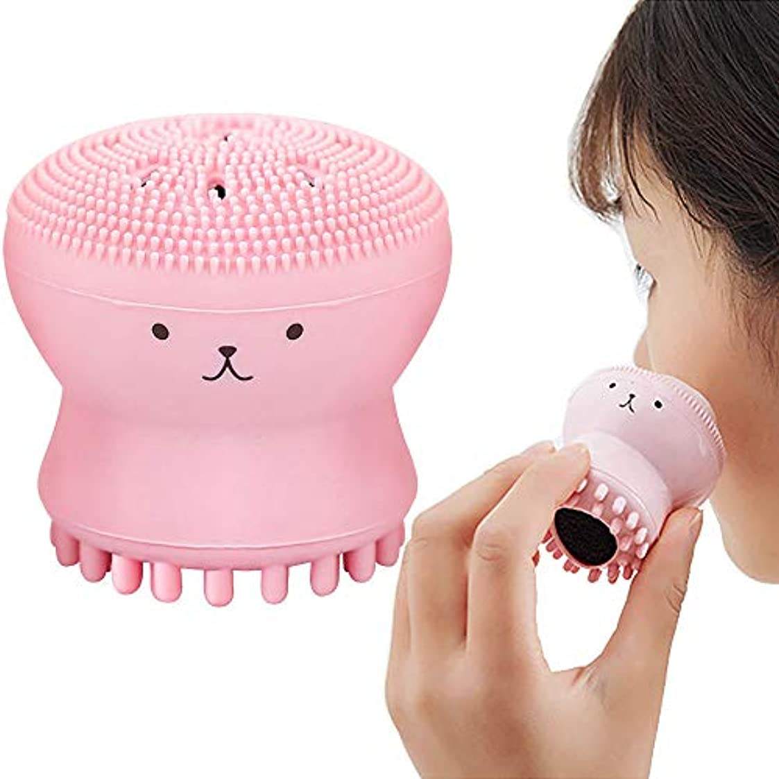 置き場多様な評決Cikoume クレンジングブラシ 手動洗顔ブラシ 洗顔器 クラゲ タコ フェイスブラシ 可愛いシリコン製顔マッサージ 両面用 スポンジ洗顔機 (ピンク)