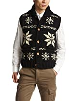 Canadian Sweater Company Snow Button Vest 09CN01: Black / Natural