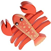 Jesse Play Pretend Toy Seafood Lobster Shape Simulation Wooden Sliced Model Gift for Kids Toddlers Boys Girls