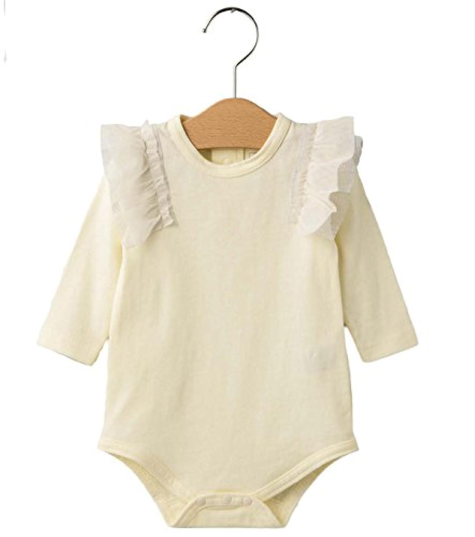 cote cotte(コトコット) ベビー 肩フリル ボディスーツ 赤ちゃん 女の子 長袖 ベビー服 カバーオール ロンパース 70㎝ アイボリー