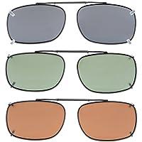 "Eyekepper Grey/Brown/G15 Lens 3-pack Clip-on Polarized Sunglasses 2 1/8""x1 7/16"""