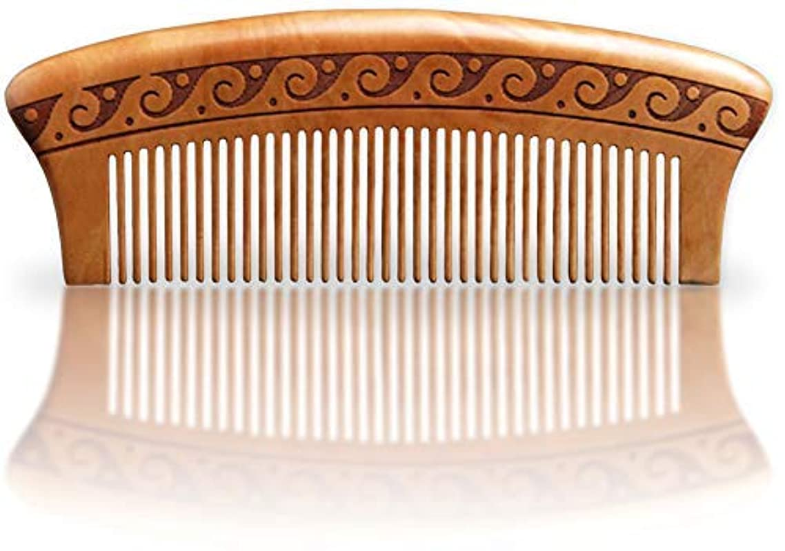 革新松明アボートBRIGHTFROM Wooden Hair Comb, Anti-Static, Detangling, Great for Hair, Beard, Mustache, Natural Peach Wood [並行輸入品]