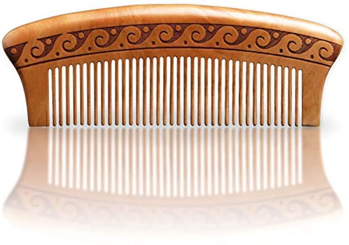 マイクフロンティア実験をするBRIGHTFROM Wooden Hair Comb, Anti-Static, Detangling, Great for Hair, Beard, Mustache, Natural Peach Wood [並行輸入品]