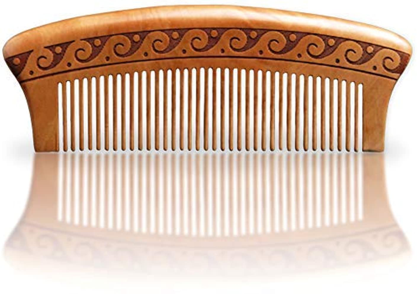 輪郭入学する泳ぐBRIGHTFROM Wooden Hair Comb, Anti-Static, Detangling, Great for Hair, Beard, Mustache, Natural Peach Wood [並行輸入品]
