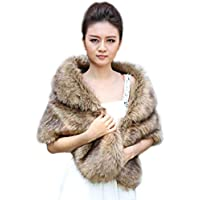 Aukmla Women's Wedding Fur Wraps and Shawls for Women, Bridal Fur Stole