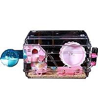 ハムスターケージ、安全かつ非毒性デラックスの生息地でハムスター小動物フィーダー/バス/ホイール、透明な小動物ビッグ城ヴィラ、アクリルを実行しています pink