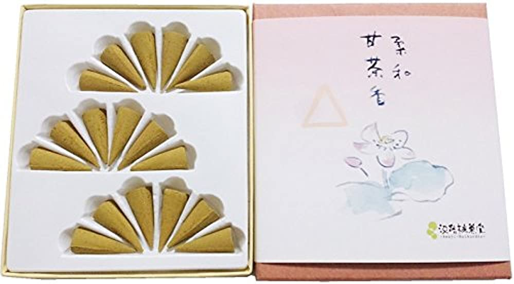 カカドゥホステス温度計淡路梅薫堂のお香 甘茶 白檀 フランキンセンス 浄化 お香 柔和甘茶香 コーン型 18個入 #3 sandalwood incense cones 日本製