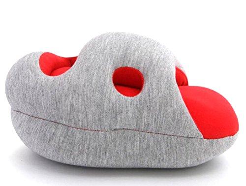 【ヌアージュ モーヴ】 nuage mauve 腕 に 装着 昼寝 うたた寝 多機能 クッション オフィス枕 (レッド)
