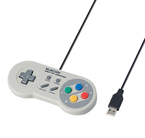 エレコム ゲームパッド 8ボタン スーパーファミコン風 高耐久ボタン(日本メーカー製)採用 300万回耐久試験クリア ホワイト JC-FR08TWH