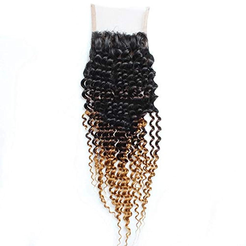 国歌スクラブ陽気なWASAIO 女性子供編組のための3トーンの色をブロンド茶色にブラジルの人間の毛髪レース正面閉鎖ブラック (色 : ブラウン, サイズ : 18 inch)