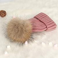 ウールの帽子女性の秋と冬の厚い暖かい耳の保護ファッションかわいいスーパーラージヘアボールのニット帽 (色 : Light pink, サイズ さいず : Children)
