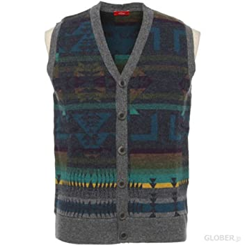 Wool Button Front Sweater Vest 1363174: Navy
