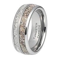 iTungsten 8mm 結婚指輪 メンズ レディース タングステンカーバイドリング 鹿の角 隕石はめ込み ドーム型 快適フィット