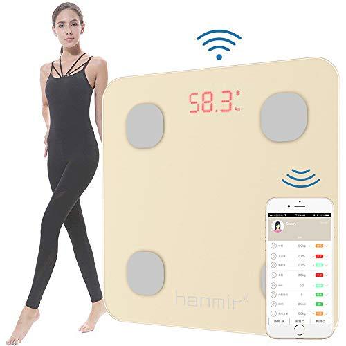Hanmir 体重計 体組成計 体脂肪計 Bluetooth体重計 高精度 スマートスケール 体重/体脂肪率/体水分率/筋肉量/BMI/基礎代謝量/骨量/内蔵脂肪レベルなどをiOS/Androidアプリで健康管理 ダイエット・肥満の予防・改善サポーター 日本語アプリ対応 日本語説明書付き