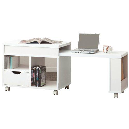 クロシオ ドロアーセンターテーブル ホワイト色 幅70cm~幅120cmの伸縮式 省スペース ロータイプ デスク&テーブル